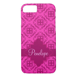 Pink Fuchsia Arabesque Moroccan Name Personalized iPhone 7 Case