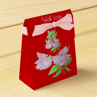 Pink fuchsia flower and leaves original art pretty party favour boxes