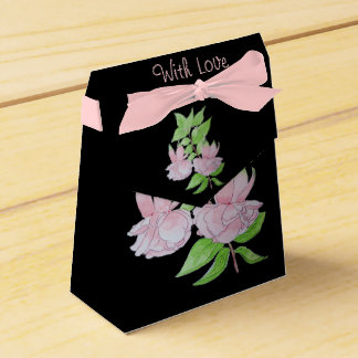 Pink fuchsia flower and leaves original art pretty wedding favour box
