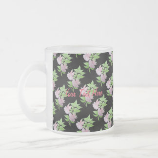 Pink fuchsia flower with leaves water colour art frosted glass mug