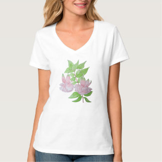 Pink fuchsia flower with leaves water colour art T-Shirt
