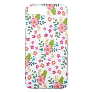 Pink Fuchsia Spring Flower Pattern, Girly Floral iPhone 7 Plus Case