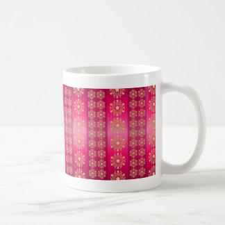Pink Fuchsia Stripes and Stars Pattern Coffee Mug