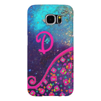 PINK FUCHSIA TURQUOISE BLUE ABSTRACT DECO MONOGRAM SAMSUNG GALAXY S6 CASES