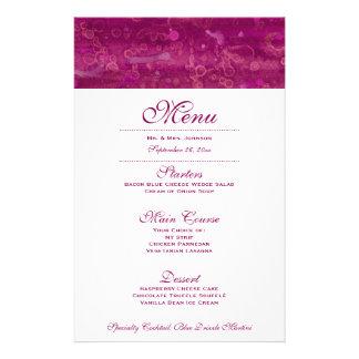 Pink Fuchsia Wedding Menu Watercolor 14 Cm X 21.5 Cm Flyer