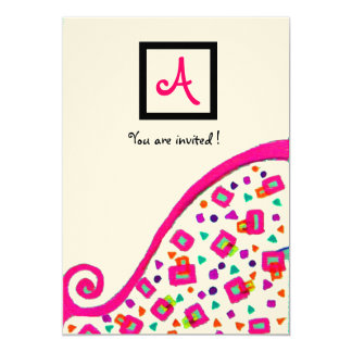 PINK FUCHSIA WHITE ABSTRACT DECO SQUARE MONOGRAM CUSTOM ANNOUNCEMENT CARD