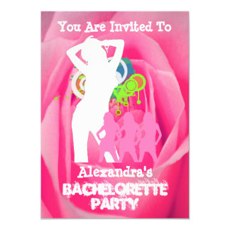 Pink fun party girls personalized bachelorette 13 cm x 18 cm invitation card