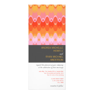 Pink Funky Waves 03 Modern Wedding Invitation