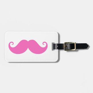 Pink funny handlebar mustache cute trendy luggage tag