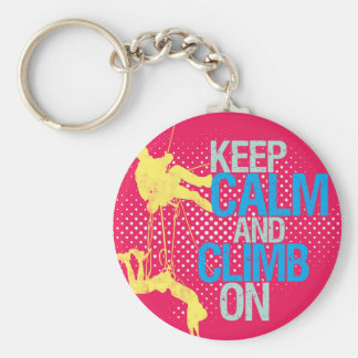 Pink Funny Keep Calm and Climb On Keychain