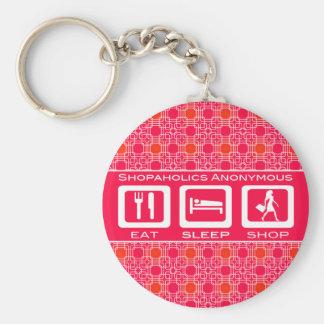 Pink Funny Shopaholic Eat Sleep Shop Award Basic Round Button Key Ring