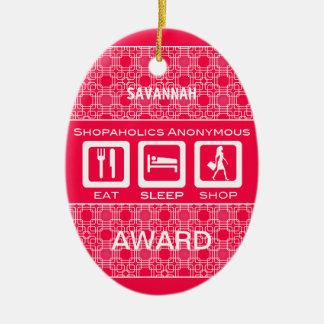 Pink Funny Shopaholic Eat Sleep Shop Award Christmas Ornament
