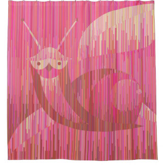 Pink funny snail. Geometric style curtain