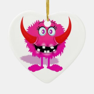 Pink Furry Fluffy Cartoon Monster Ceramic Heart Decoration