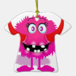 Pink Furry Fluffy Cartoon Monster Christmas Tree Ornaments