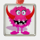 Pink Furry Fluffy Cartoon Monster Christmas Ornaments