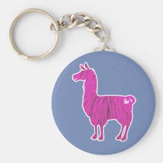 Pink Furry Llama Keychain
