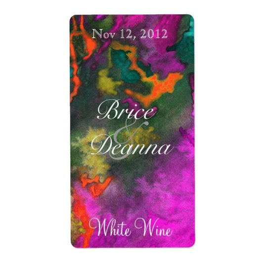 Pink Fusion 2 Wedding Wine Label