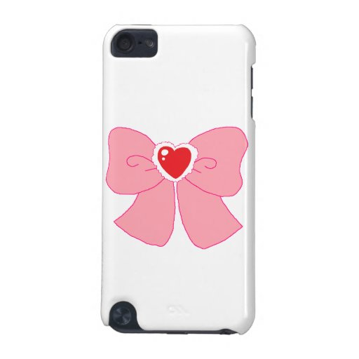 Pink Fuzzy Heart Bow iPod Touch 5G Covers