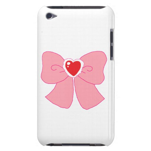 Pink Fuzzy Heart Bow iPod Touch Case-Mate Case