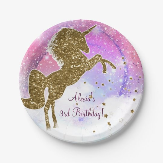 Pink Galaxy Magical Unicorn Sparkle Birthday Party Paper