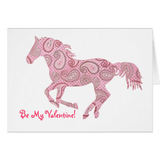 Pink Galloping Paisley Horse Valentine s Day Card