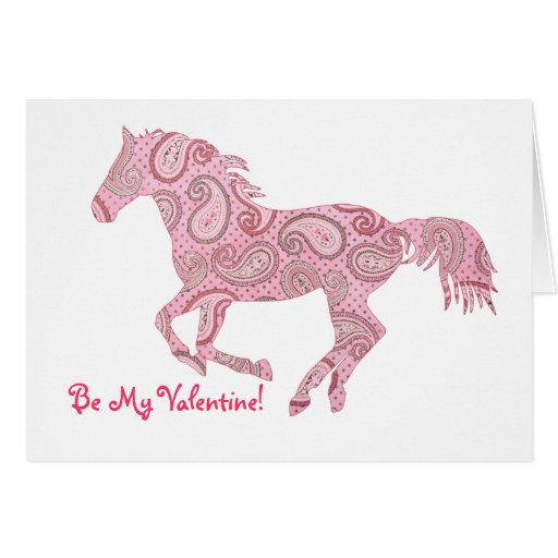 Pink Galloping Paisley Horse Valentine's Day Card