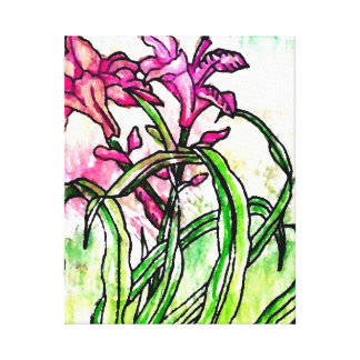 Pink Garden Floral Flowers Artwork Watercolor Canvas Print