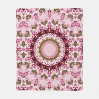 Pink Garden Mandala Fleece Blanket