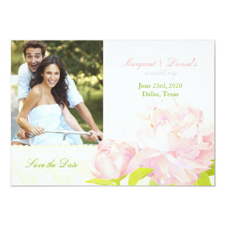Pink Garden Peony Wedding Photo Save the Date Card