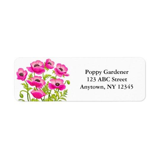 Pink Garden Poppy Flowers Avery Label