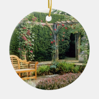Pink Garden Seat In Rose Pergola, With Berberis An Christmas Ornament