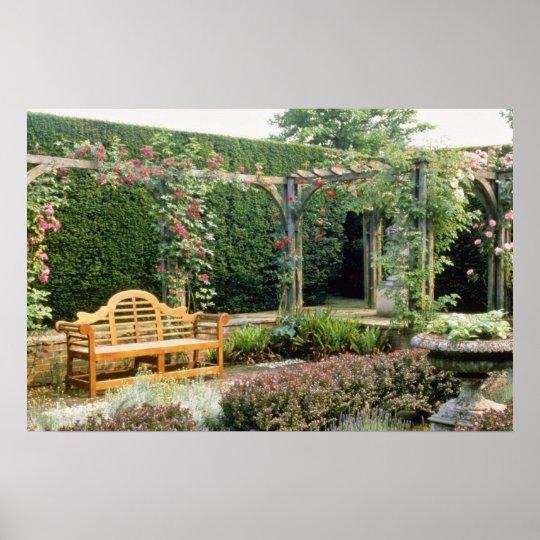 Pink Garden Seat In Rose Pergola, With Berberis