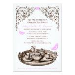 "Pink Garden Tea Party Invitations 5"" X 7"" Invitation Card"
