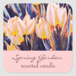 pink garden tulips - scented candle or soap label square stickers