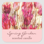 pink garden tulips - scented candle or soap label square sticker