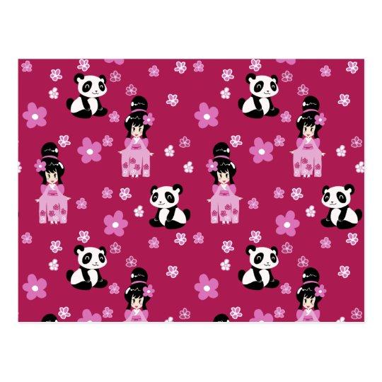 Pink Geisha Panda Flower Pattern Postcard