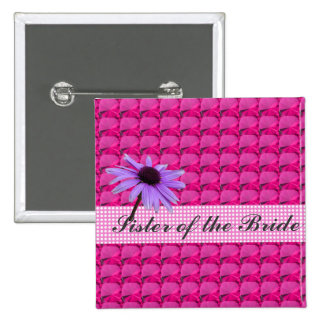 pink gem stones and daisy flower 15 cm square badge