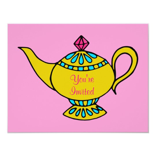 Pink Genie's Lamp Birthday Party Invitations