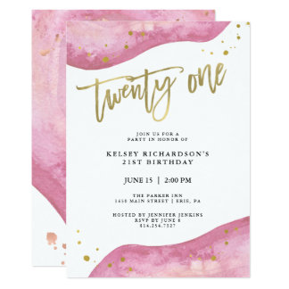 Pink Geode and Faux Gold Look   21st Birthday Card