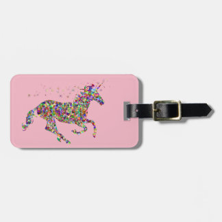 Pink geometric colorful unicorn luggage tag