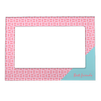 Pink Geometric Pattern Custom Text Picture Frame