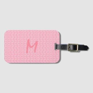 Pink Geometric Patterned Monogram Luggage Tag