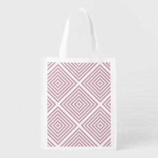 Pink Geometric Squares Reusable Grocery Bag