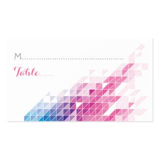 Pink geometric triangles modern wedding place card