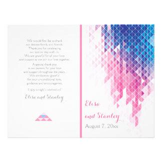 "Pink geometric triangles modern wedding program 8.5"" x 11"" flyer"