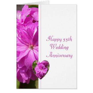 Pink Geranium 55th Wedding Anniversary Card