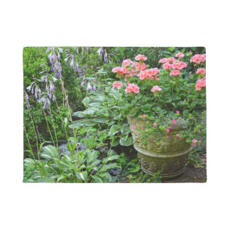 Pink geranium flower planter doormat