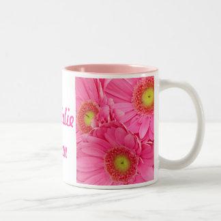 Pink Gerber Daisies Two-Tone Mug