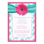 Pink Gerber Daisy Aqua Bridal Shower Invitation 13 Cm X 18 Cm Invitation Card
